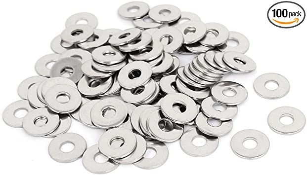 uxcell/® M3x6mmx0.5mm Stainless Steel Round Flat Washer for Bolt Screw 100Pcs