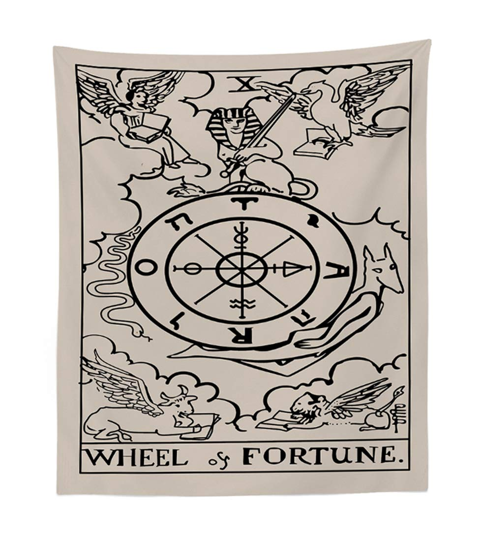 Amkun Tarot Wall Tapestry The Lovers and Wheel Fortune Tapestry Medieval Europe Divination Tapestry Wall Hanging Tapestries Home Decorations Mysterious For Living Room Bedroom Home Decor (Lovers, 51