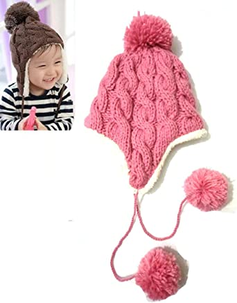 New Coffee Little Rabbit Ears Handmade Knitted Wool Cap with Double Ball Children Hat Winter Warm Earflap Hats Best Gift
