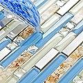 TST Glass Inner Conch Tile Beach Style Blue Cream White Brushed Steel Art Mosaic Kitchen Backsplash Bath Decor Stainless Steel Tile TSTNB06