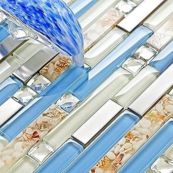 Turquoise Blue Glass Tile Blend 1 Quot X 1 Quot Glass Mosaic Tile Amazon Com