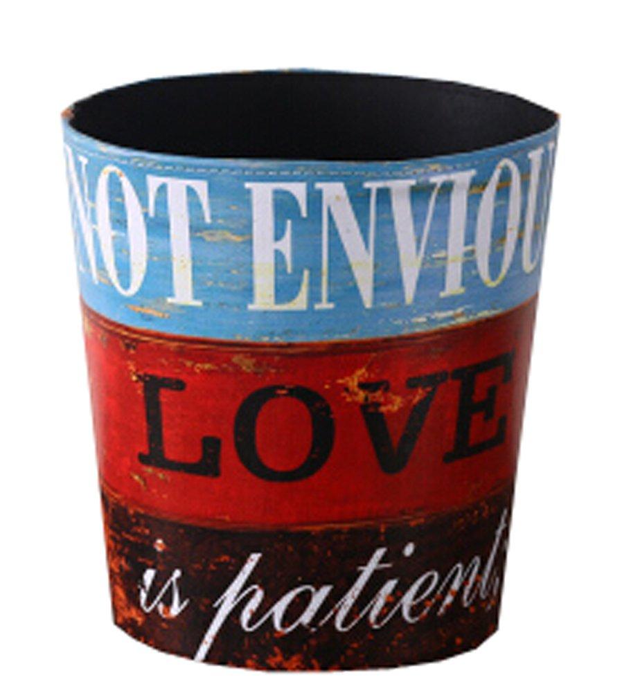 Blancho Bedding [Red Love] Wastebasket Paper Basket Trash Can Dustbin Garbage Bin 10.24x10.24x7.87 Inches