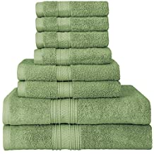 Premium 700 GSM 8 Piece Towel Set; 2 Bath Towels, 2 Hand Towels and 4 Washcloths - Cotton - Machine Washable, Hotel Quality, Super Soft and Highly Absorbent by Utopia Towels (Sage Green)