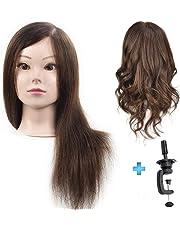 ErSiMan - Cabezal de maniquí profesional para mujer con pelo 100% humano, cabeza de manikin de 45,7 cm para entrenamiento de peluquería con abrazadera de mesa