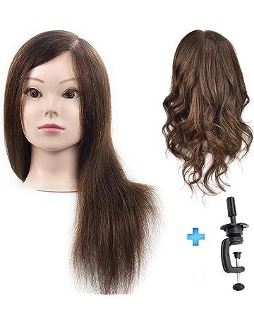 ErSiMan - Cabezal de maniquí profesional para mujer con pelo 100% humano, cabeza de