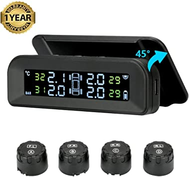 Pceewtyt Solar Tpms Car Tire Pressure Alarm Monitoring System 4 External Automatic Alarm System Tire Pressure Temperature Warning