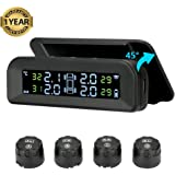 TPMS Solar Tyre Pressure Monitoring System 22-87 Psi Mount on Windshield with 4 External Sensors Car Tire Real-time Wireless Auto Alarm System