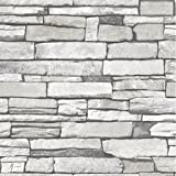 Natural Stacked Grey Stone Brick Pattern Vinyl Contact Paper Self-adhesive Peel-stick Wallpaper (Kitchen)