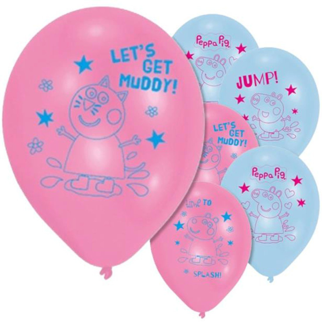 PEPPA PIG 11 Story Latex Balloons Pink & Blue (6 Pack) Amscan