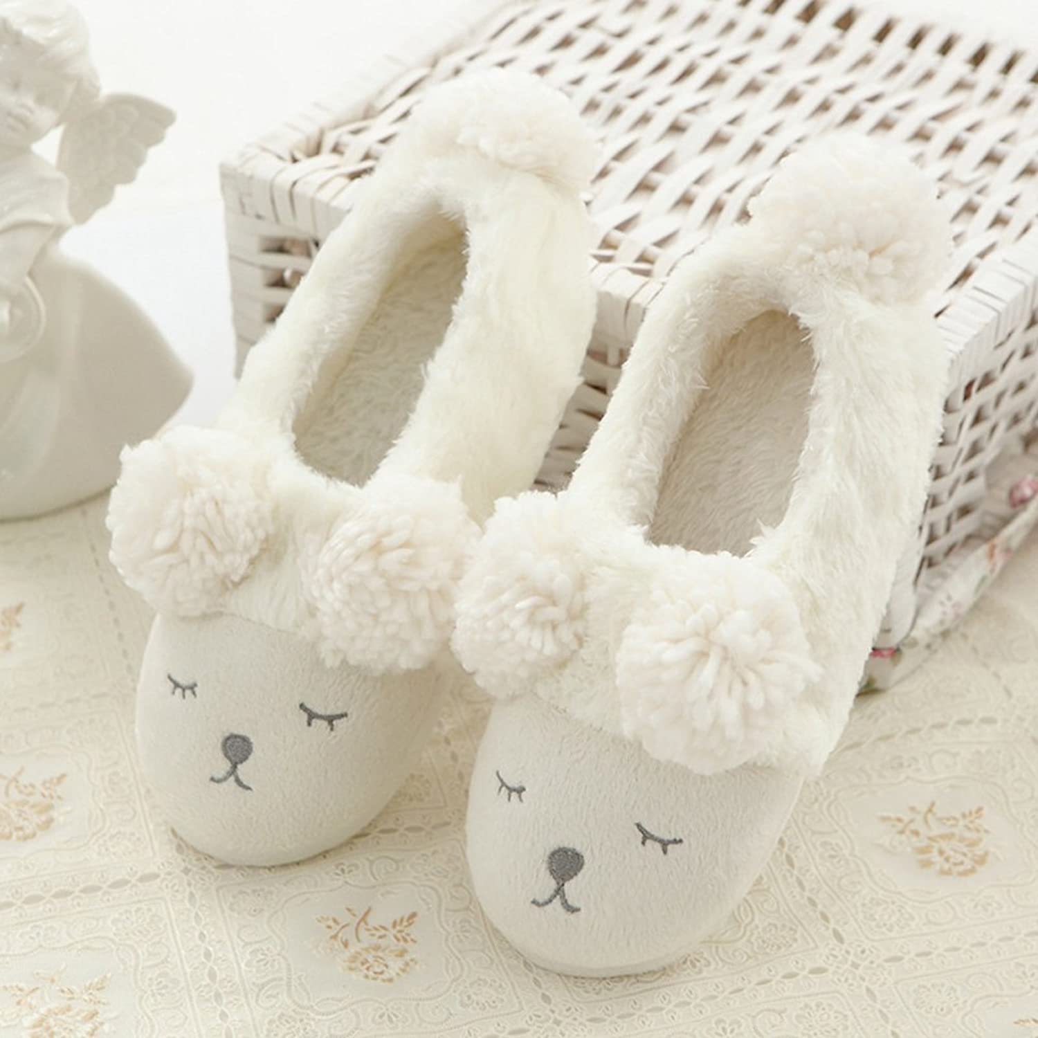 8haohuo Womens Warm Plush Fuzzy Fluffy Indoor House Boots Slippers