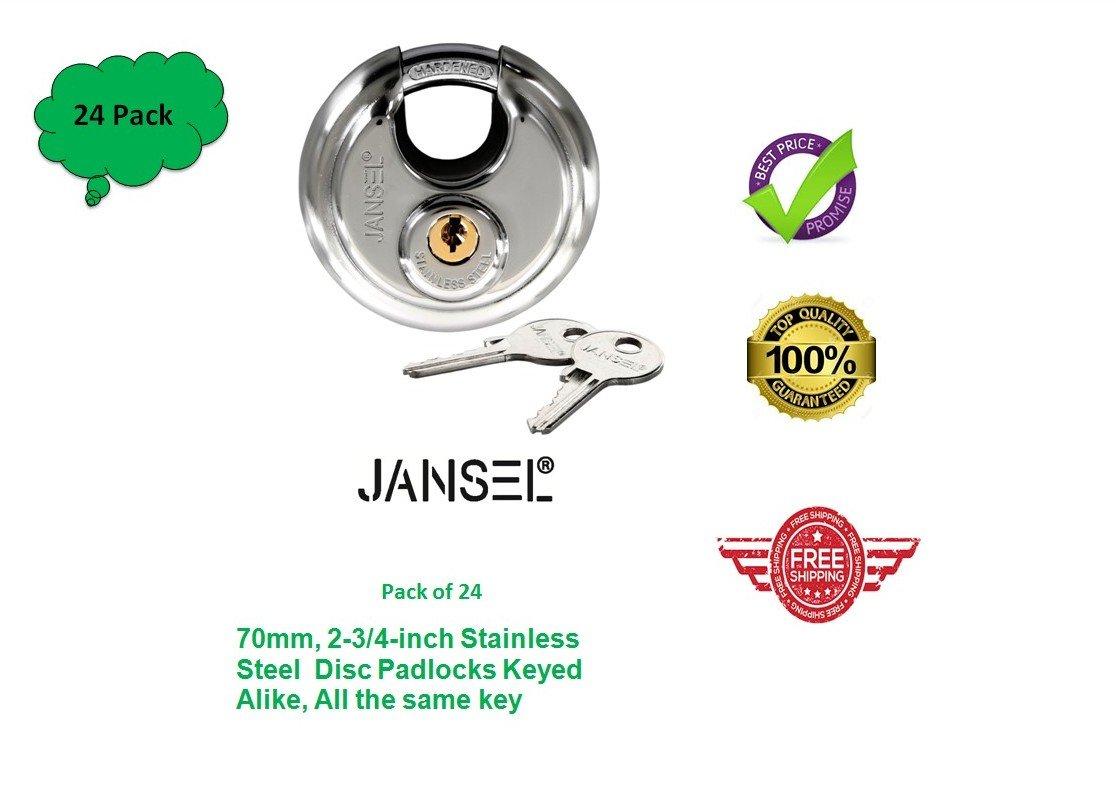 JANSEL – 70mm Disc Padlock Keyed Alike, Discus Padlocks Keyed Alike 70mm Round Disc Padlock with Shielded Shackle, 2-3/4-inch, Stainless Steel Round Disc Storage Pad Locks All the same key (24)