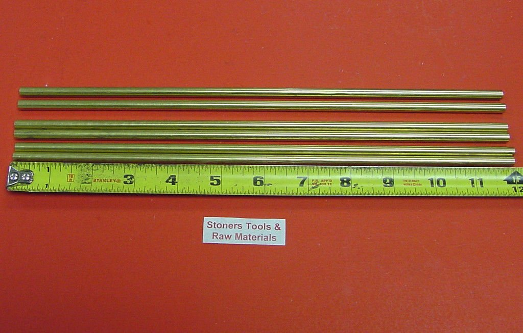 "6 Pieces of 1//4/"" C360 BRASS SOLID ROUND ROD 12/"" long .250/"" Lathe Bar Stock"