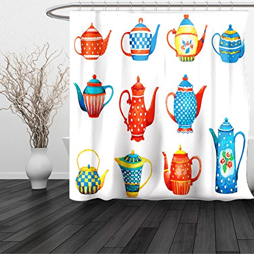 HAIXIA Shower Curtain Tea Party Colorful Teapots Various Shapes Sizes Breakfast Ceramic Cute Design Blue Vermilion Yellow - Ibiza 8 Light Chandelier