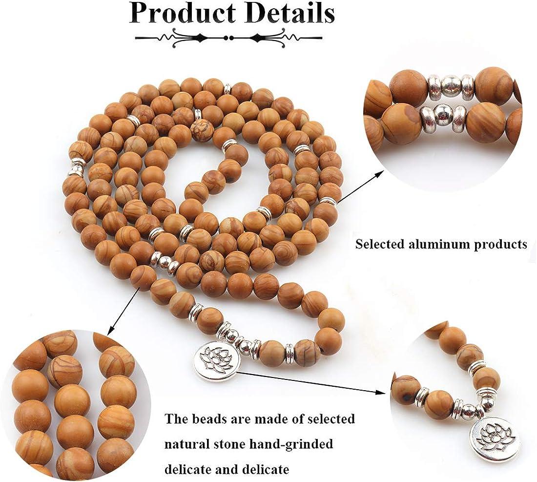 GVUSMIL 8mm 108 Mala Perles Emballage Bracelet Collier pour Yoga Charme Bracelets Naturel Gemme Bijoux pour Femmes Hommes
