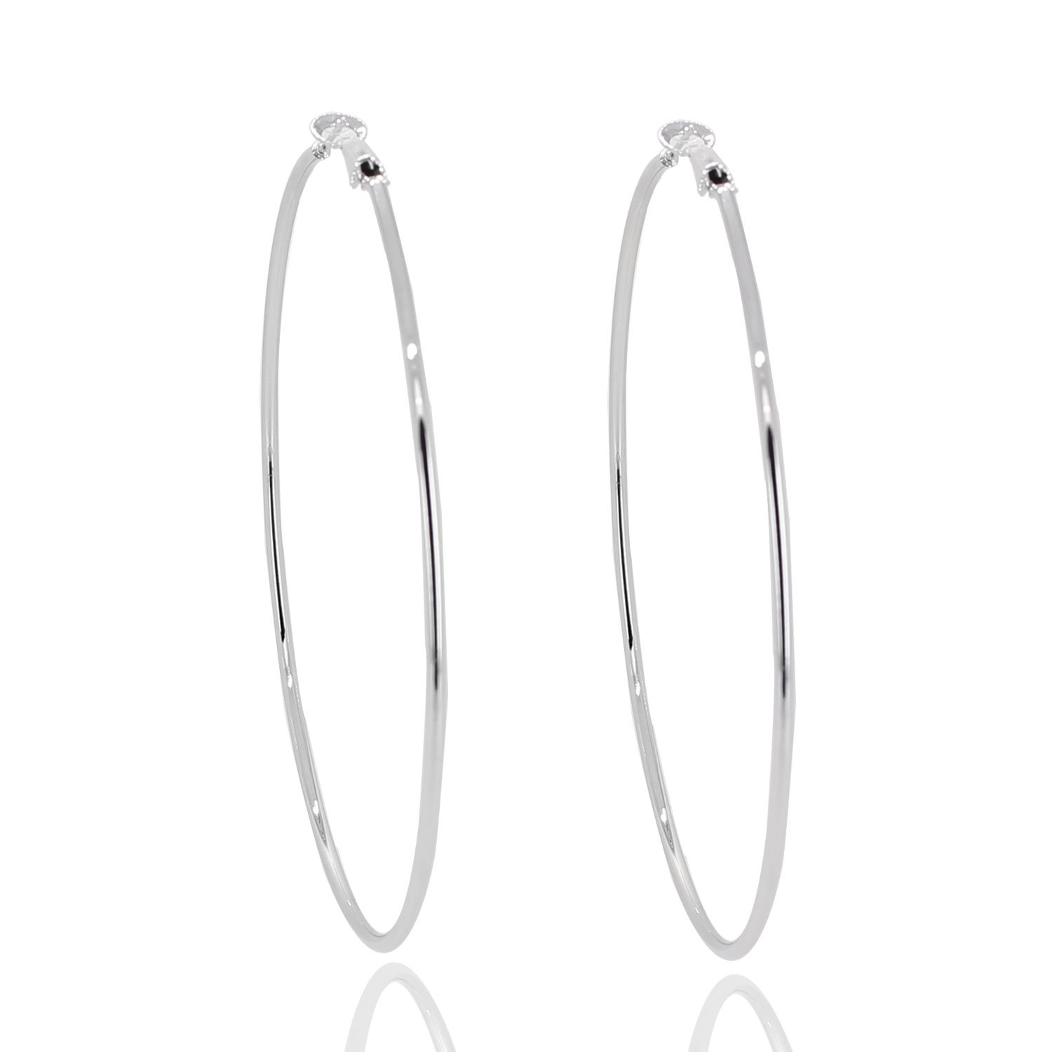 Super Large Hoop Earrings Solid 4'' Stainless Steel Rounded Big earring Silver tone Party club look