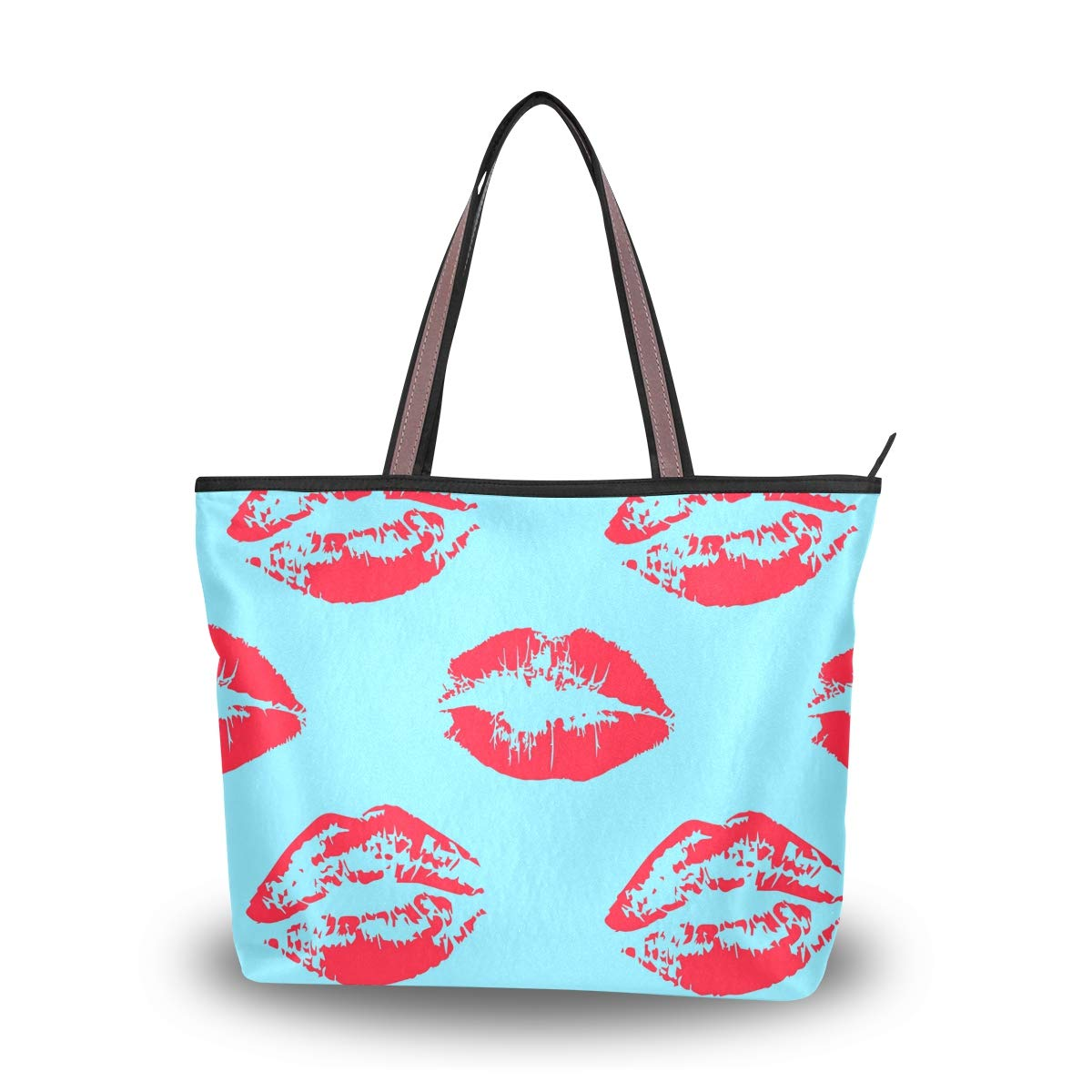 dff5234067b8 Red Lipstick Kiss Women Large Tote Top Handle Bags Shoulder Handbags ...
