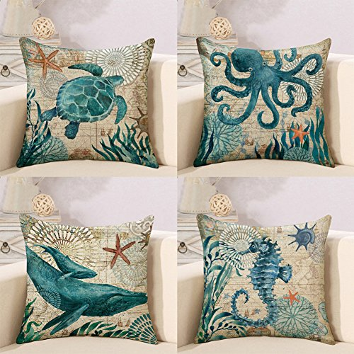 ZHONGPAN Marine Theme Mediterranean Style Cotton Linen Square Decorative Pillowcase Pillowcase Starfish, Seahorse, Shell and Conch 18X 18-4 Pieces
