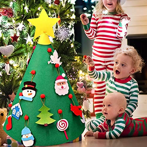 Gotian 3D DIY Felt Christmas Tree Toddler New Year Kids Gifts Toys Playtime Kids Tree, Nice ()