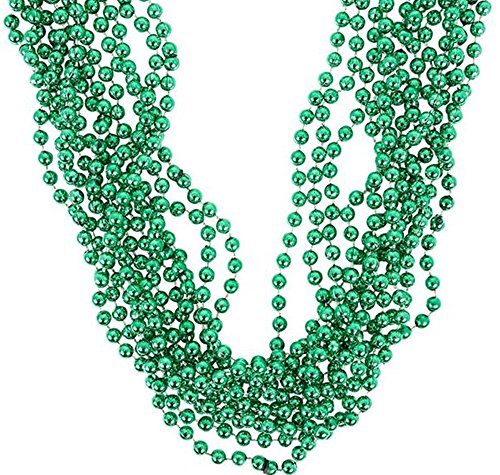 Metallic Green Beads necklaces - 36 pc bulk pack]()