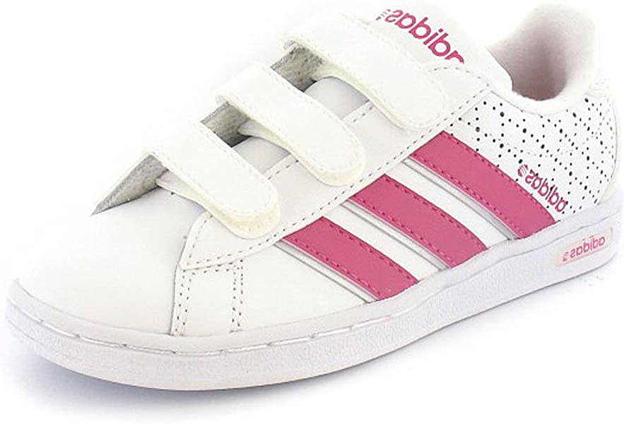 buy cheap special sales famous brand Girls White Leather Adidas Velcro Trainers - White/Pink - UK SIZE ...