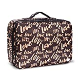Large Makeup Cosmetic Bag Train Cases with Removable EVA Dividers and Backpack Strap by Joligrace (Love Word)