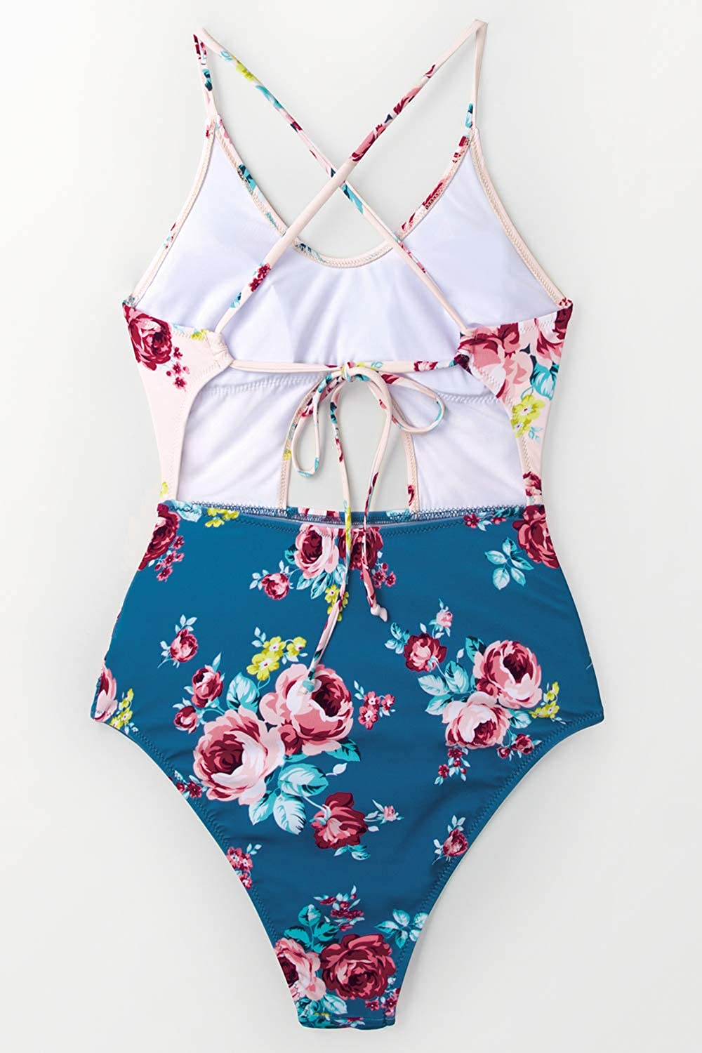 CUPSHE Womens Pink Blue Floral Cutout One Piece Swimsuit