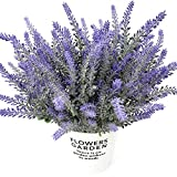 HEBE 8 Bundles Artificial Lavender Fake Flowers Bouquet Purple Lifelike Flocked Lavender Plant Shrubs for Party, Wedding, Garden,Office, Indoor Outdoor Home Decor,Unpotted