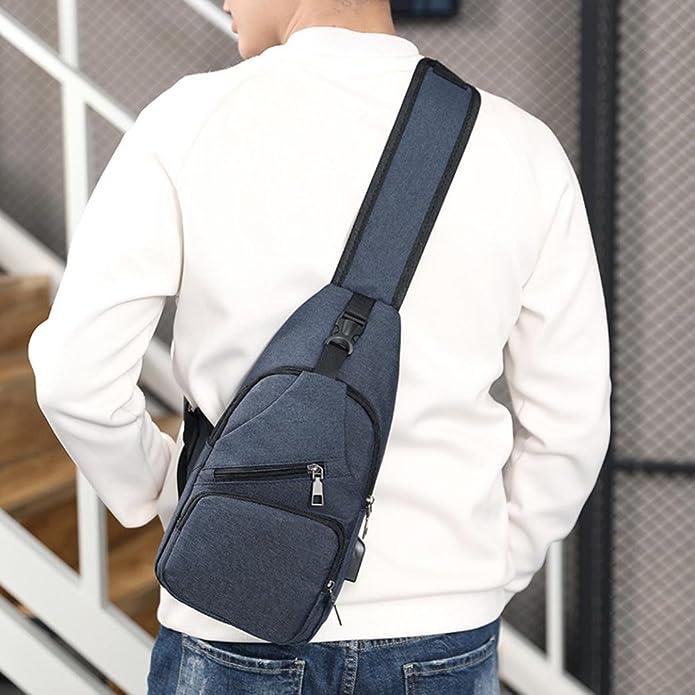 Bolsa bandolera de STRIR, para hombres y mujeres, ligera, para senderismo, mochila de viaje con puerto de carga USB (Azul): Amazon.es: Zapatos y complementos