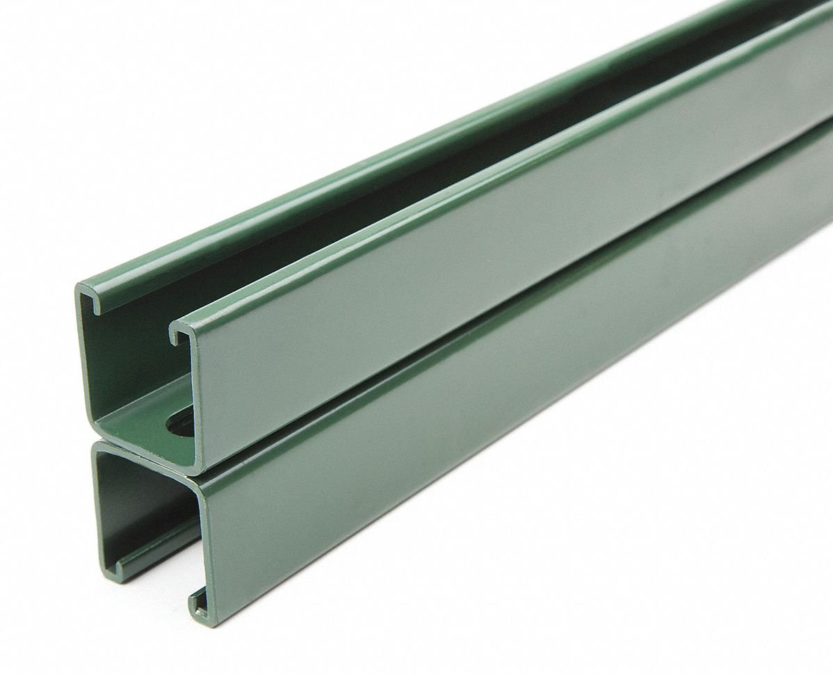 Slotted Back to Back 1-5/8 x 3-1/4 Strut Channel, Green Painted Steel, 12 ga, 2 ft.