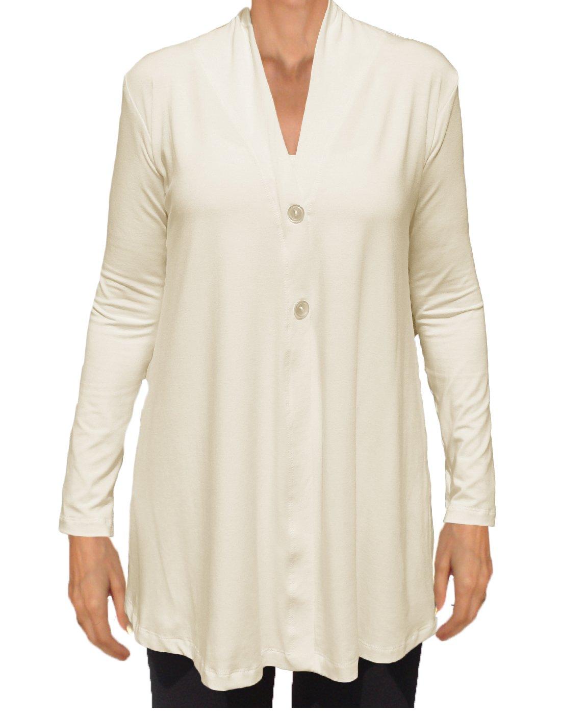 Ooh la la Womens Jersey Knit Flared Lightweight Draping Cardigan Sweater Jacket (X-Large 38-39, Ivory)