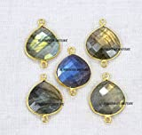 Devgemsandjewels Natural Labradorite Faceted Heart Shape 15 mm 24k Gold Plated Double Bail Bezel Charm Connector 25 pcs.
