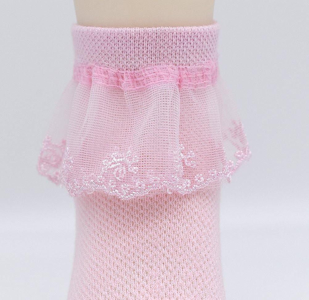 CeeDeek Lace Socks for Girls Socks Dress Socks White Princess Socks Packs of 5