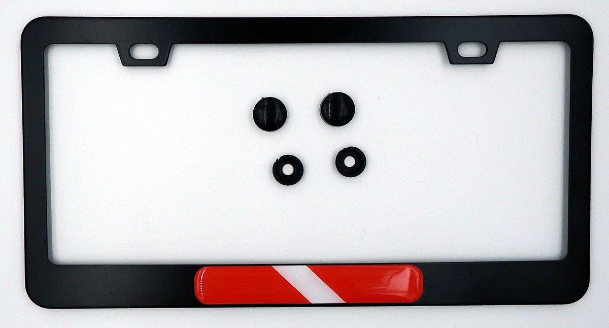 Diving Flag Metal Black Aluminium Car License Plate Frame Holder Diver Dive Car Chrome Decals