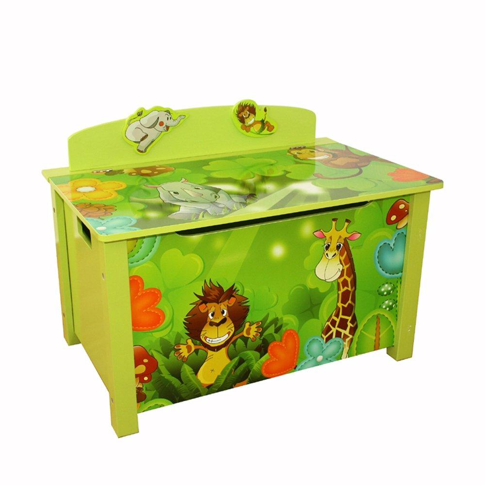 Homestyle4u niños de Juguete Caja de almacenaje con diseño de Jungla, Madera, 30 x 30 x 30 cm