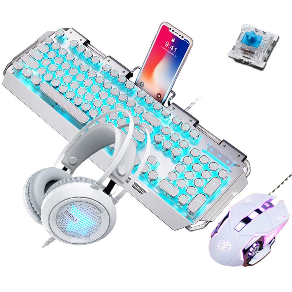メカニカルゲームキーボードマウスとヘッドセット、ブルースイッチブルーLEDメタルキーボード+ 3200DPIマウス+カラフルな呼吸ライトゲームヘッドセット B07MCXDGFP