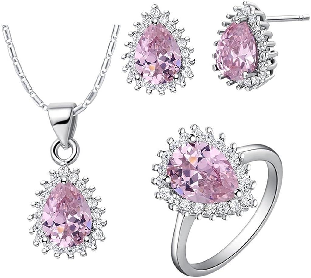 KnSam Collar Plata Mujer, Conjunto de Collar Pendientes y Pulsera, Gota de Agua Rosado Cristal Juego de Joyas