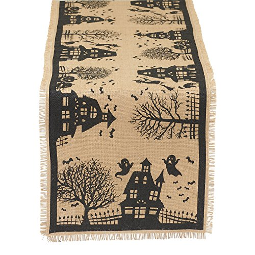 design imports halloween haunted house table runner x 74