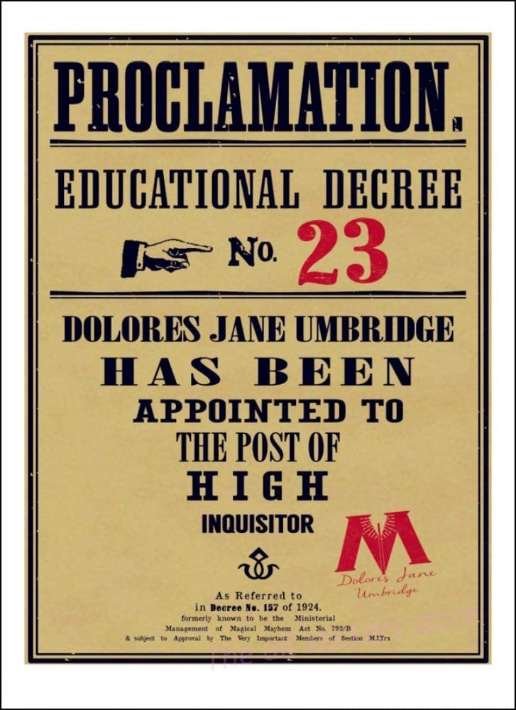 JYYC Cartel de Kraft Retro Hogwarts Umbridge Educational Decrees ...