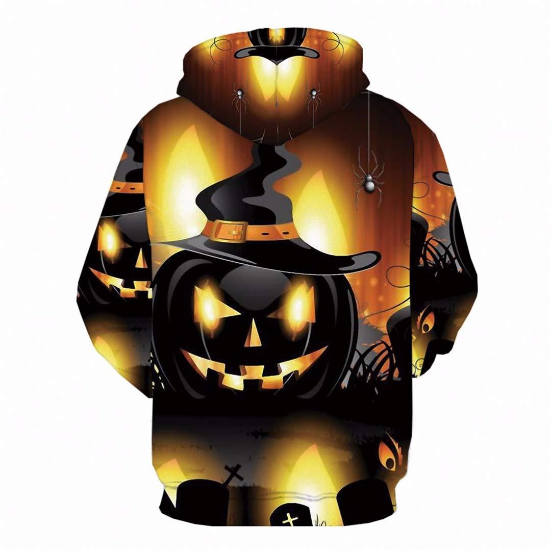 Men Hip Hop Streetwear Halloween 3D Hoodies Long Pumpkin Printed Sweatshirt