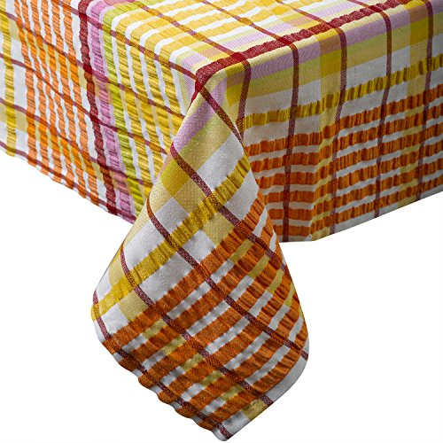 "(Seersucker 100% Cotton Tablecloths Kitchen Picnic Checked Table Linen 50"" x 90"" (Apricot))"