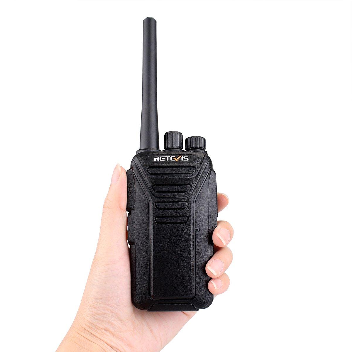 Retevis RT27 Talkie Walkie sans Licence Rechargeable Portable PMR 446 VOX 16 Canaux Port USB de Chargement Noir, 5 pcs