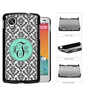 Black And White Damask With Teal Monogram (Custom Initials) Hard Plastic Snap On Cell Phone Case LG Nexus 5
