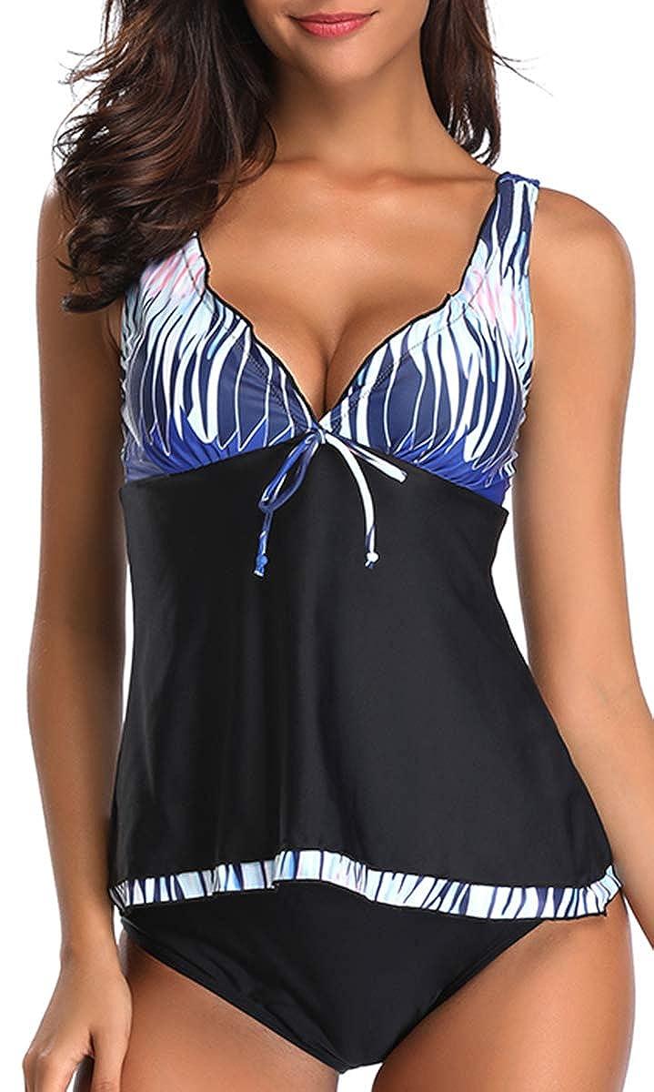IRICHEE Womens Two Piece Tankini Sets Elegant Swimwear Padded Bandeau Swim Dress Bikini with Shorts