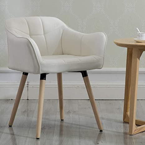 Windaze Fabric Accent Chair with Solid Wood Legs Modern Leisure Living Room  Office Arm Chair, Cream White