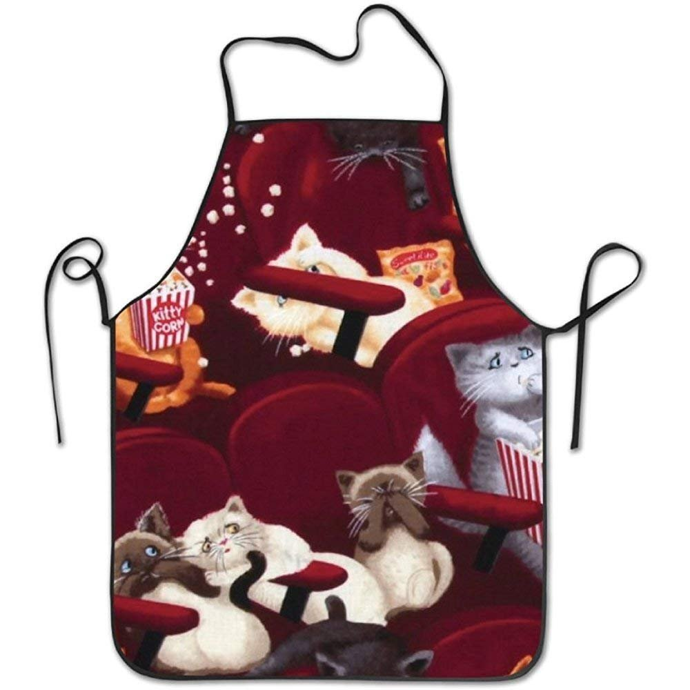 HETRIS Funny Apron Movie Theater Cats Cooking Baking BBQ Aprons for Women Men