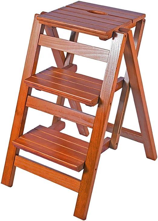 Escalera Plegable De Madera De 3 Pasos/Taburete De Paso/Taburete De Escalera De Hogar/Estante para Zapatos, con Plataforma/Almacenamiento / MultifuncióN, para Biblioteca/JardíN / Oficina: Amazon.es: Hogar