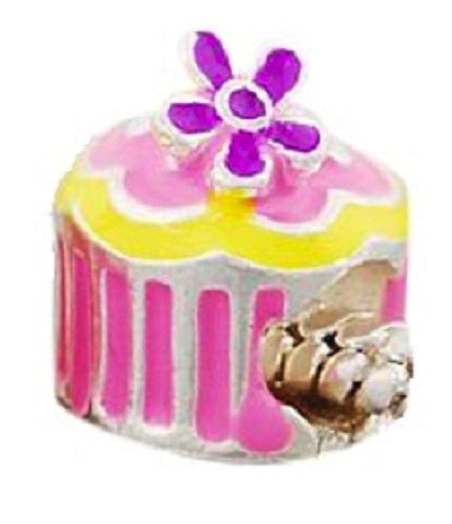 Astonishing Believe Beads 1X Pink Yellow And Purple Birthday Cake Silver Funny Birthday Cards Online Ioscodamsfinfo