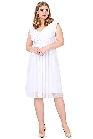0d7485e1da8d7 Angelino Butik Büyük Beden Beyaz Puantiye Tüllü Mini Abiye Elbise KL7878  (40-42)