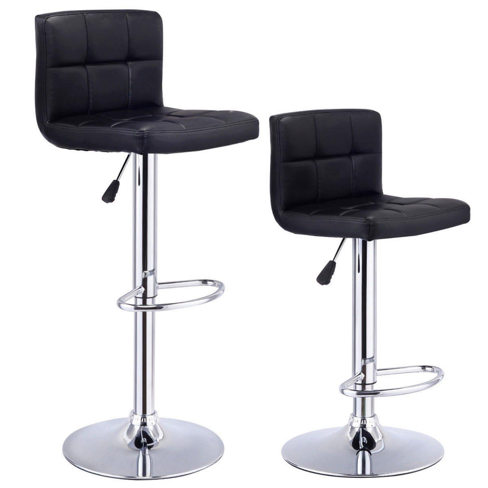 Set Of 2 Bar Stools Anti-aging PU Leather Adjustable Barstool 360 Degree Swivel Pub Style Comfortable Backrest/Black #719