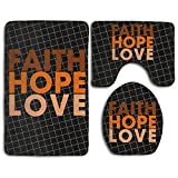 Breast Cancer Faith Hope Love Fashion Bath Mat Set 3 Pieces Indoor Decor Bathroom Rug Set Contour Mat Toilet Seat Cover